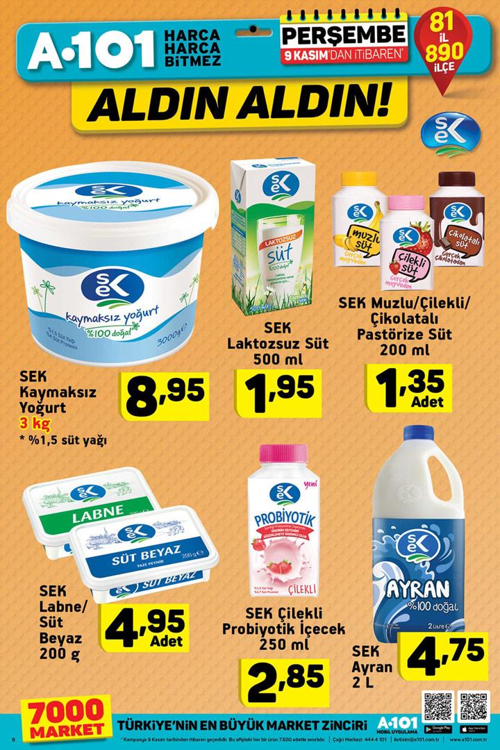 A101 9 Kasım SEK Süt ve Süt Aktüel Ürünleri & Perşembe