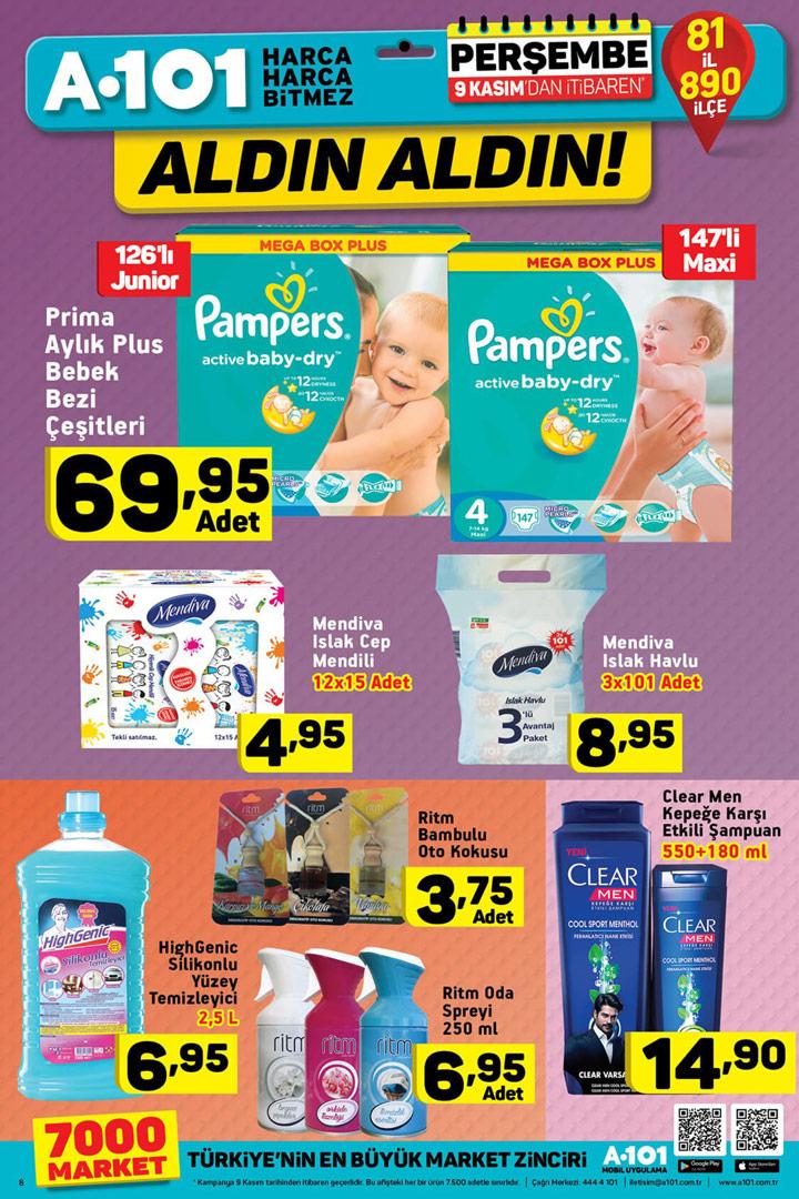 A101 9 Kasım Temizlik ve Bebek Bakım Ürünleri