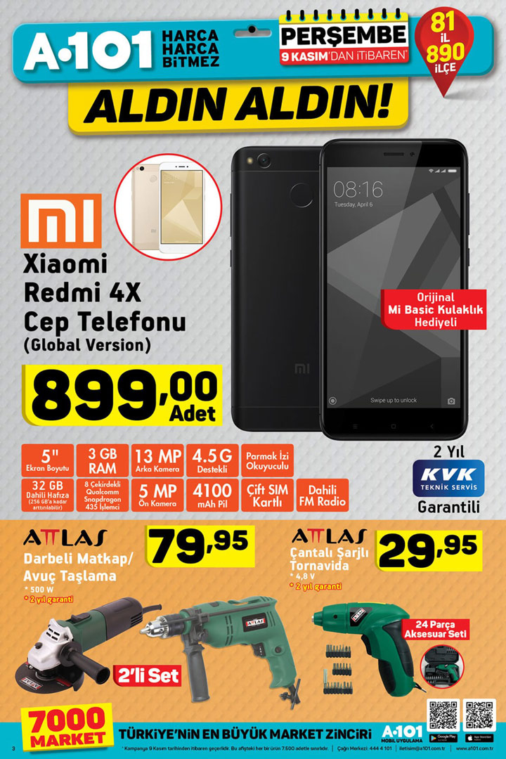 A101 9 Kasım Xiaomi Redmi 4X ve Dahası Aktüel Ürünler