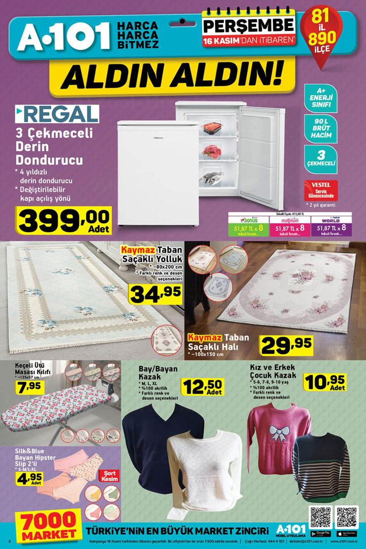 A101 16 Kasım Ev Tekstili ve Derin Dondurucu Aktüel Ürünleri