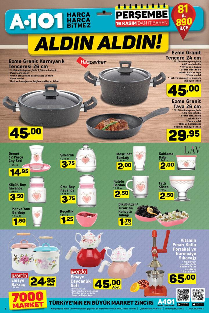 A101 16 Kasım Mutfak Aktüel ve LAV Fırsatları
