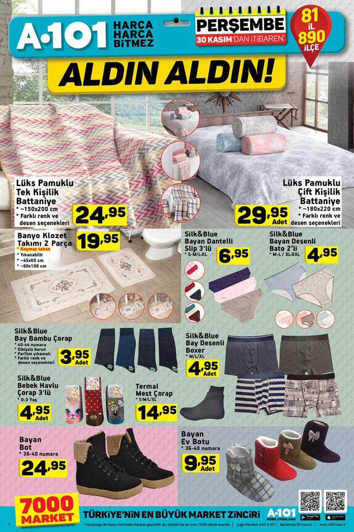 A101 30 Kasım 2017 Ev Tekstili Aktüel Ürünleri