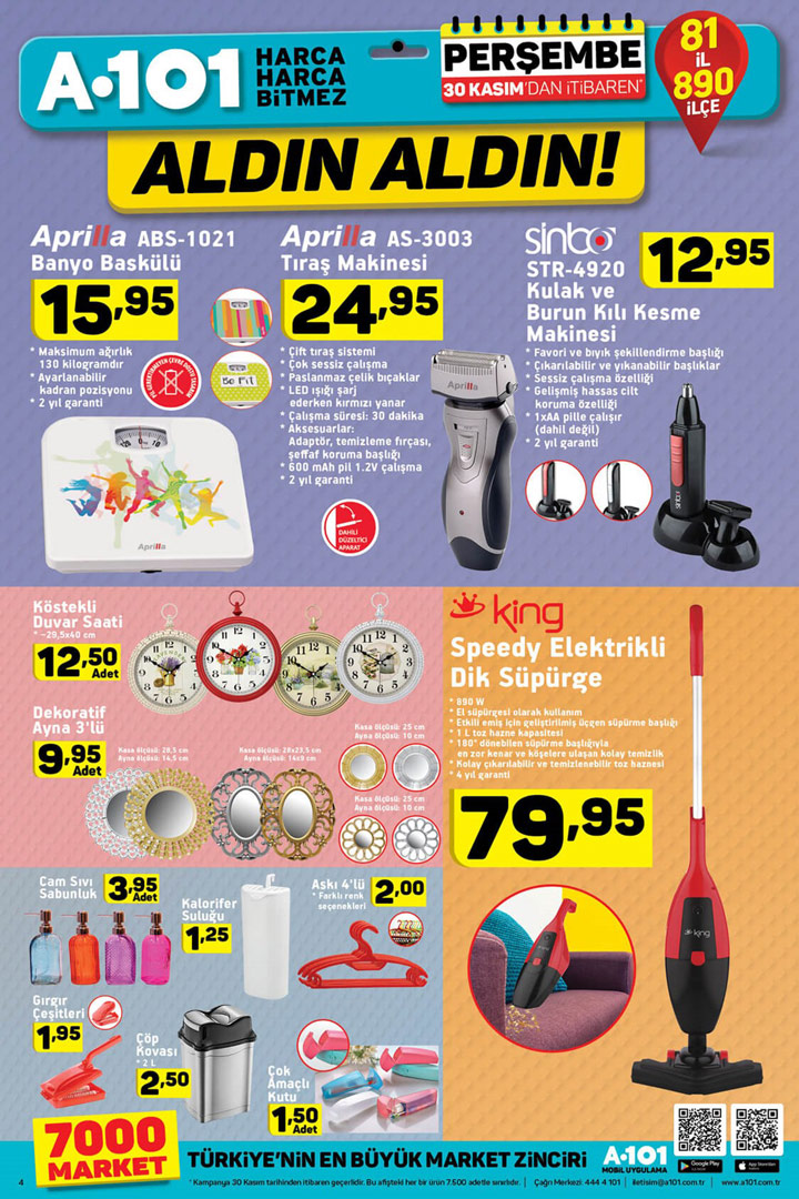 A101 30 Kasım Kişisel Temizlik Elektroniği Aktüel Ürünleri