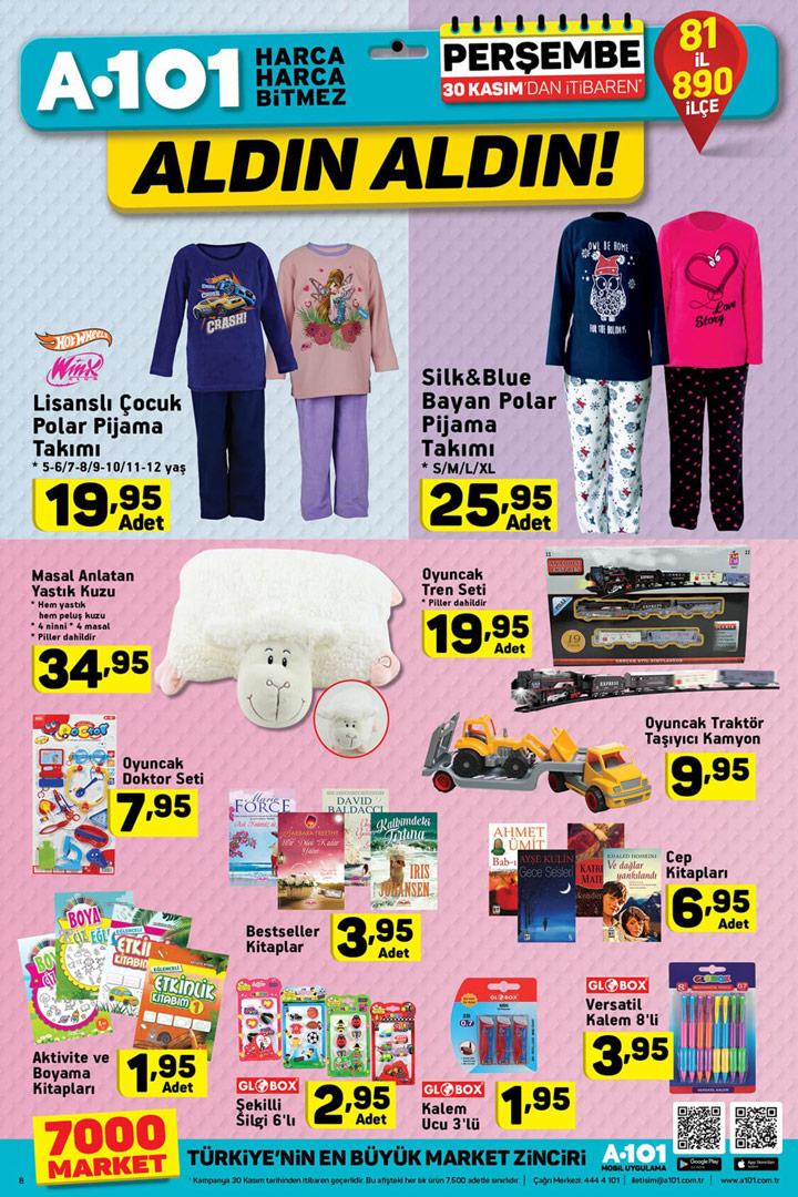 A101 30 Kasım Perşembe Oyuncak ve Pijama Aktüel Ürünleri