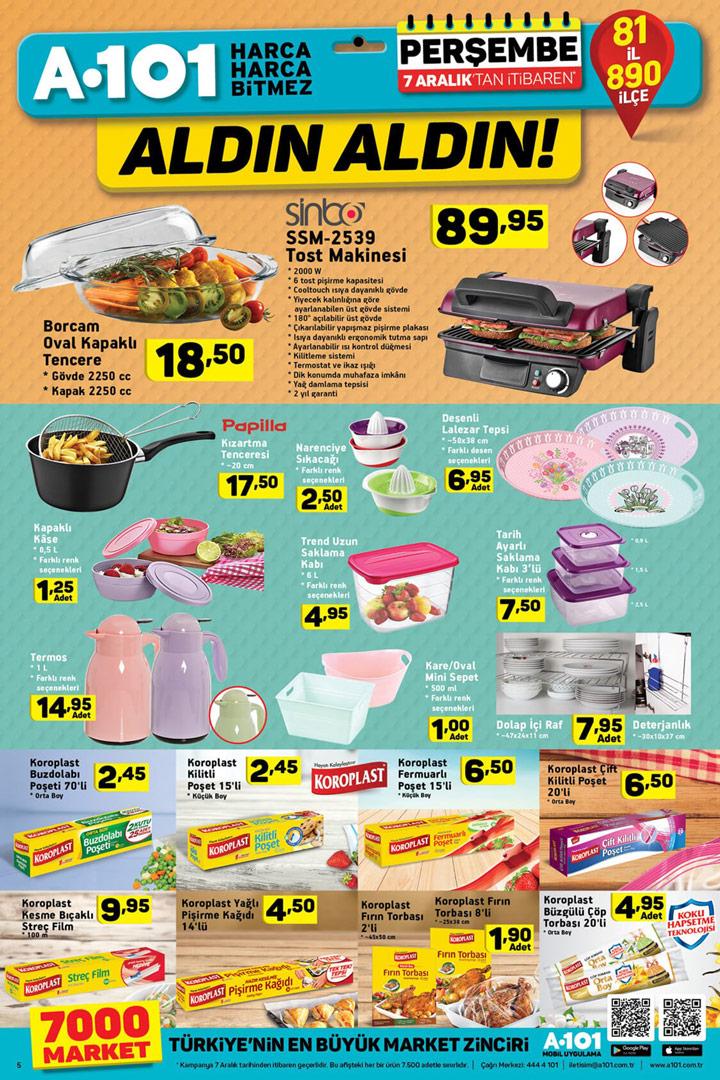 A101 7 Aralık Mutfak Ürünleri Kataloğu Sayfası