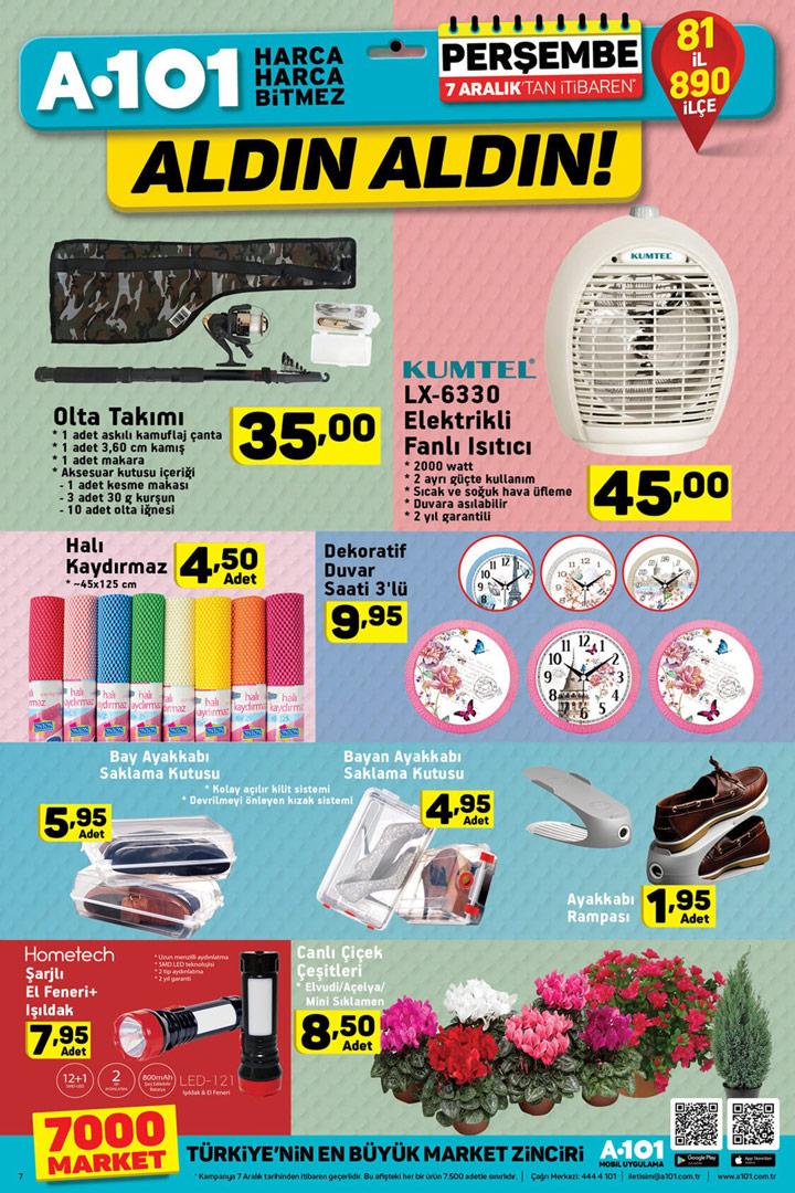 A101 7 Aralık Perşembe İndirimli Ürün Listeleri