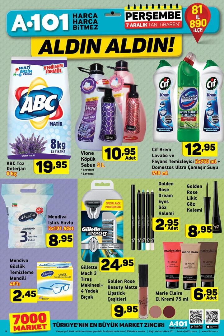 A101 7 Aralık Temizlik ve Makyaj Aktüel Ürünleri