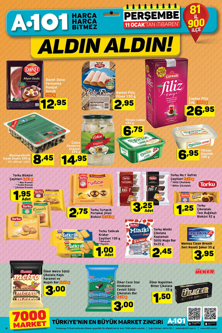A101 11 Ocak Perşembe Gıda Ürünleri Aktüel