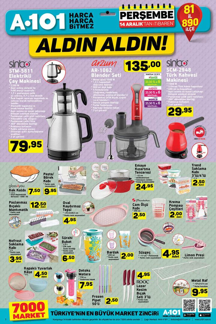 A101 14 Aralık Mutfak Aktüel Ürün Kataloğu