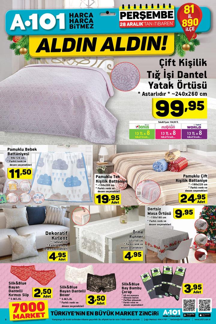 A101 28 Aralık Ev Tekstili Aktüel Ürün İndirimleri