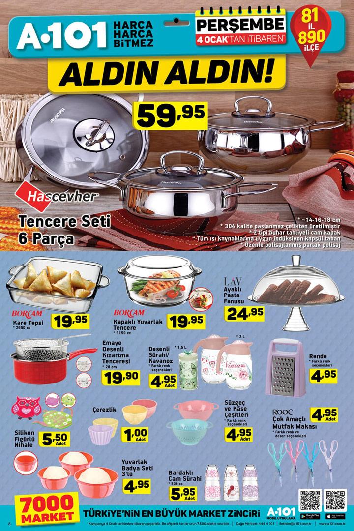 A101 4 Ocak Mutfak Ürünleri 2018 Kataloğu