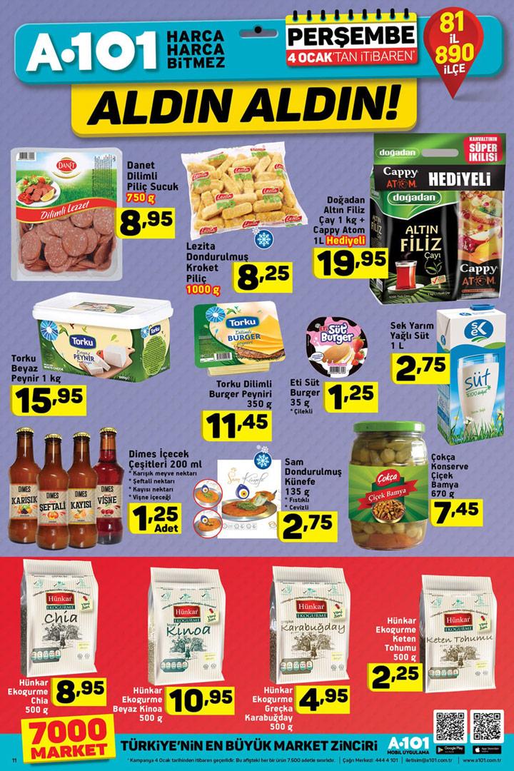 A101 4 Ocak Perşembe Gıda Aktüel Sayfası İncelemesi