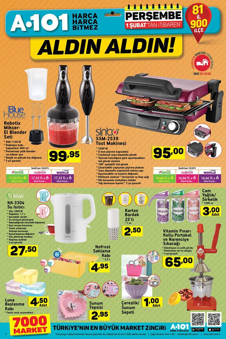 A101 1 Şubat Mutfak Ürünleri ve İndirimleri Aktüel Sayfası