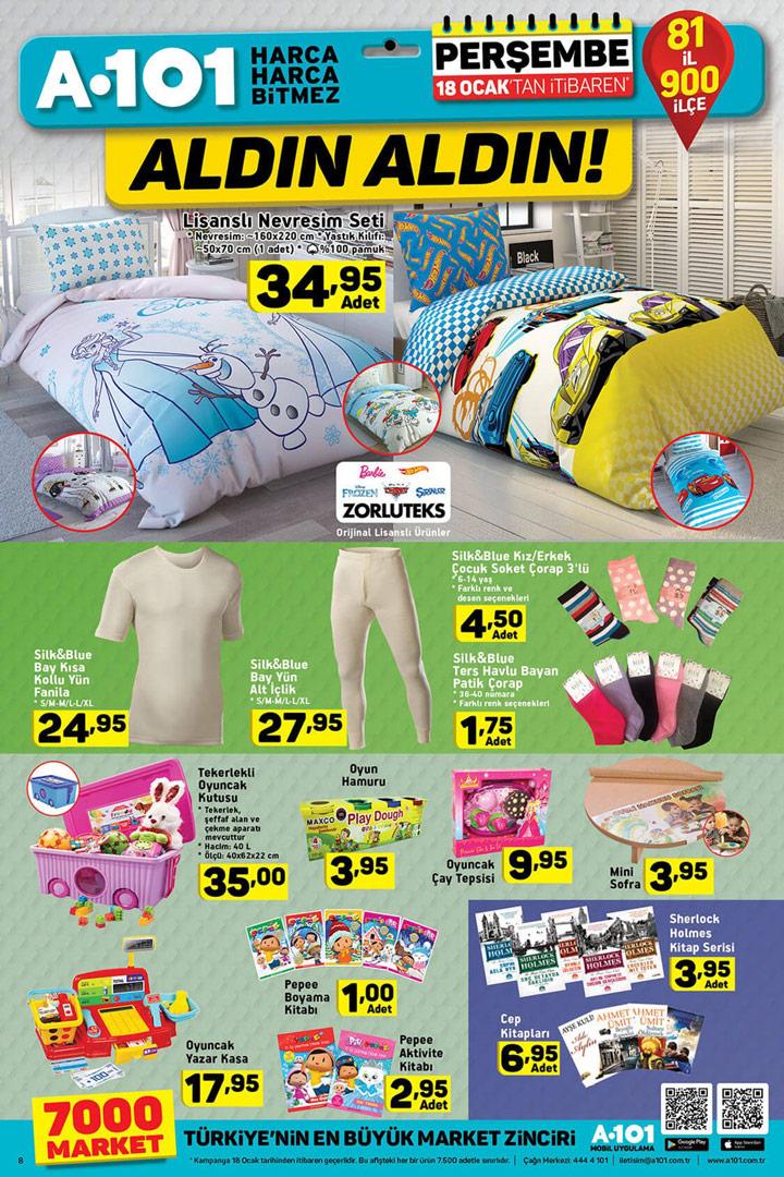 A101 18 Ocak Ev Tekstili & Kitap & Oyuncak