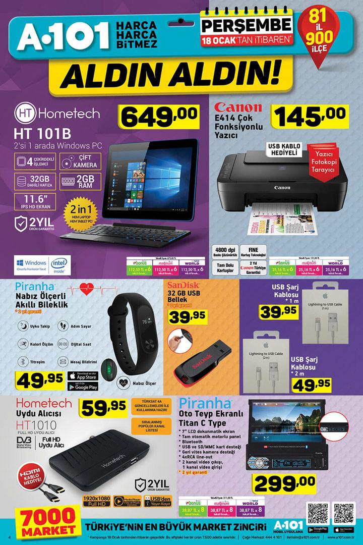 A101 18 Ocak Perşembe Elektronik Aktüel Ürünler