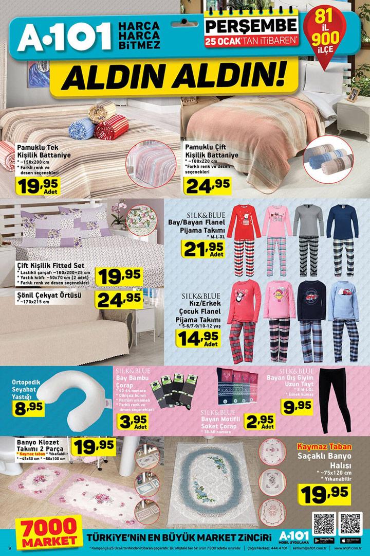 A101 25 Ocak Ev Tekstili Ürünleri Muhteşem Fırsatları