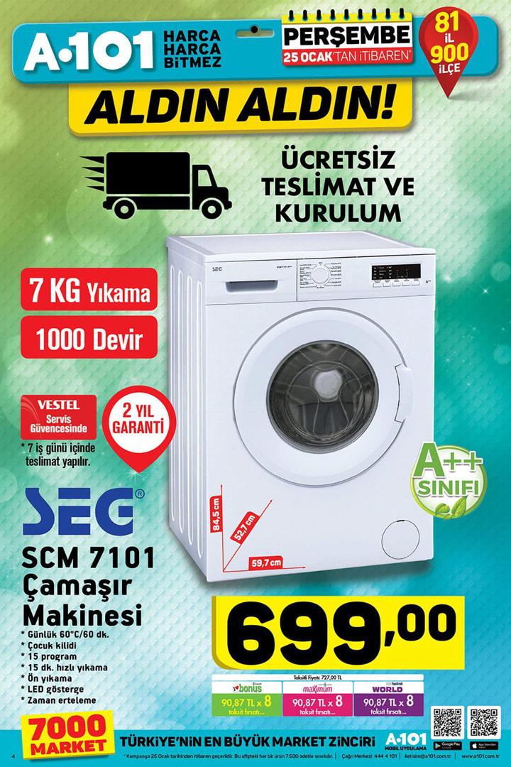A101 25 Ocak SEG SCM 7101 Çamaşır Makinesi Geliyor