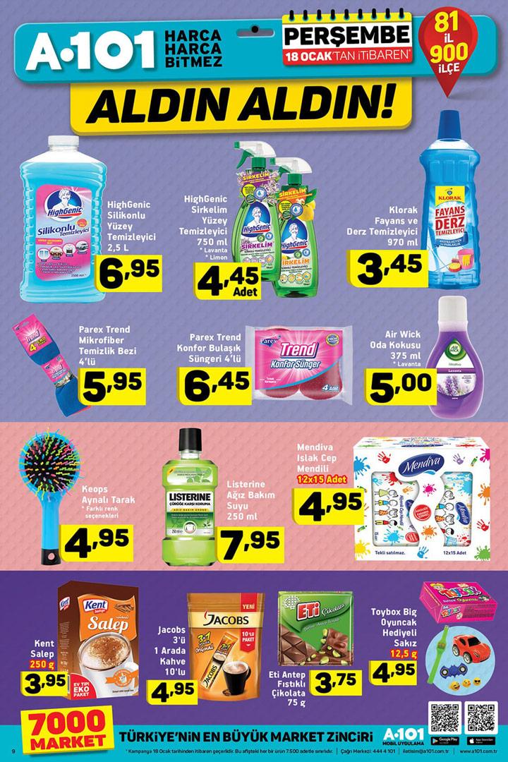 A101 Aktüel 18 Ocak Temizlik İndirimleri Sayfası