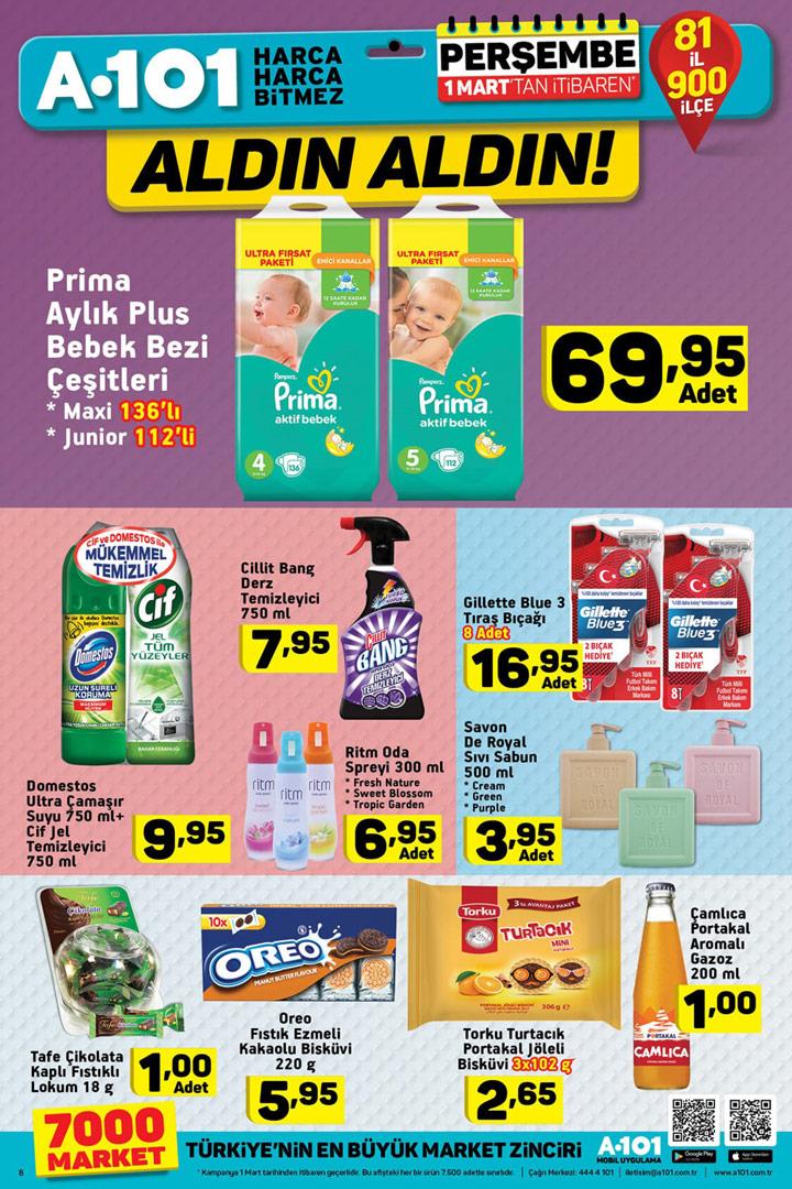 A101 1 Mart Bebek Bezi ve Temizlik Ürünleri