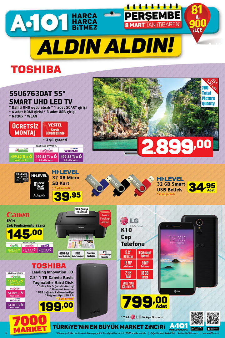 A101 8 Mart Aktüel TV, Cep Telefonu, Elektronik Ürünleri