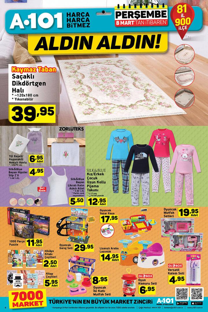 A101 8 Mart Ev Tekstili ve Oyuncak Aktüel Ürünleri