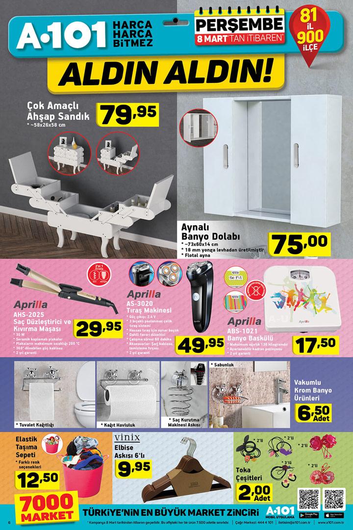 A101 Perşembe 8 Mart 2018 Kampanyalı Ürünleri
