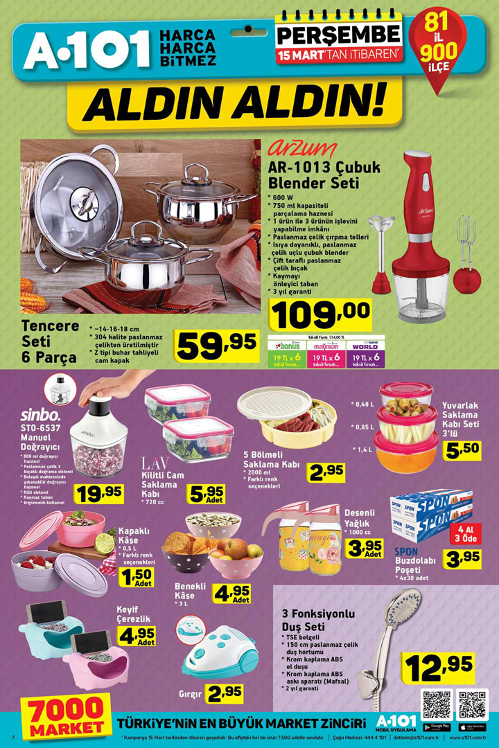A101 15 Mart Perşembe Aktüel Mutfak Ürünleri