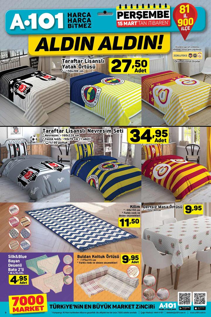 A101 15 Mart Taraftar Ürünleri ve Ev Tekstili Fırsatları