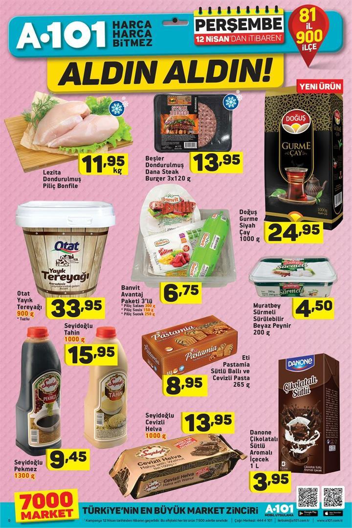 A101 Aktüel 12 Nisan Gıda Ürünleri Fırsatları Sayfası