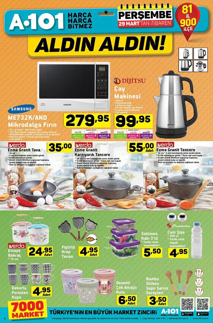 A101 Aktüel 29 Mart Mutfak Ürünleri Sayfası