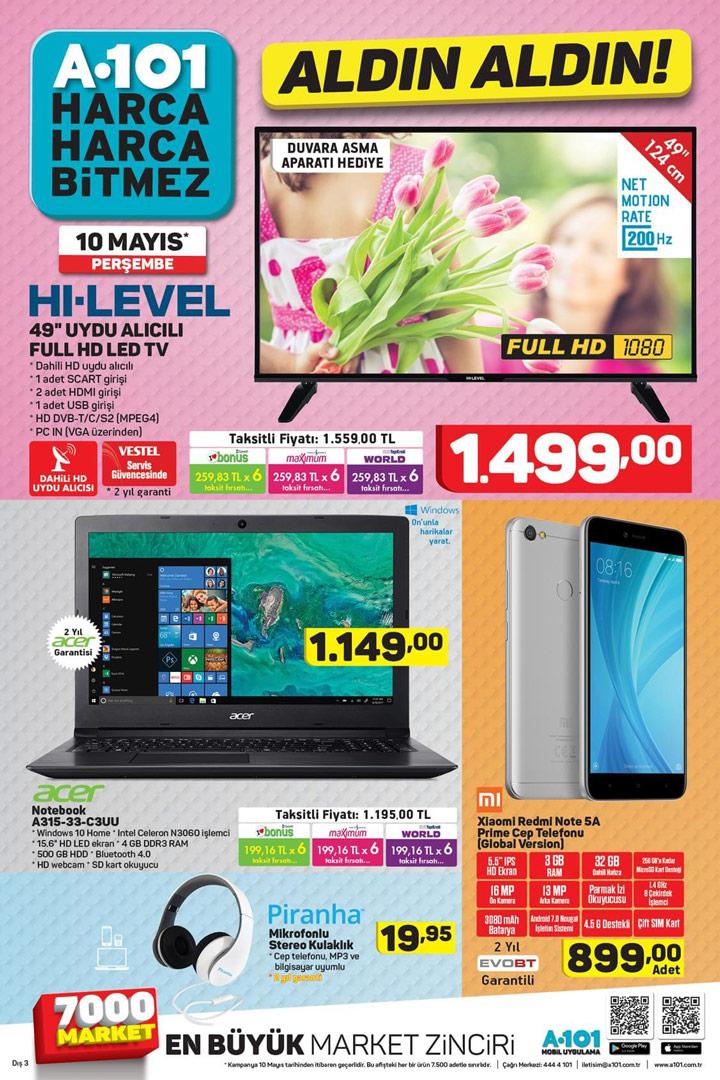 A101 10 Mayıs TV – Telefon – PC Aktüel ürünleri