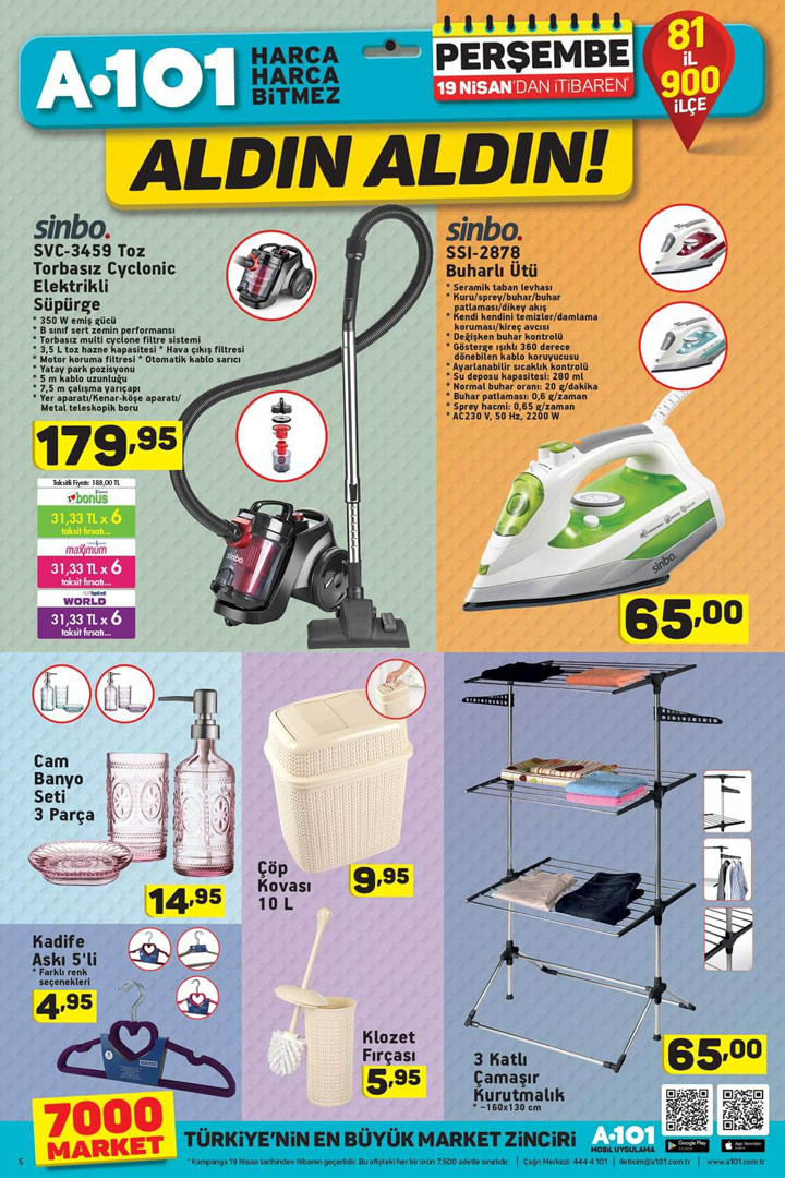 A101 19 Nisan Aktüel Ürün Fırsatları Kampanyalı Katalog