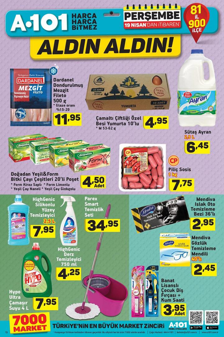 A101 19 Nisan Aktüel Temizlik & Gıda Ürünleri Sayfası