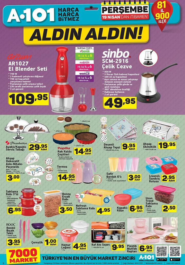 A101 19 Nisan Mutfak Ürünleri Aldın Aldın Aktüel