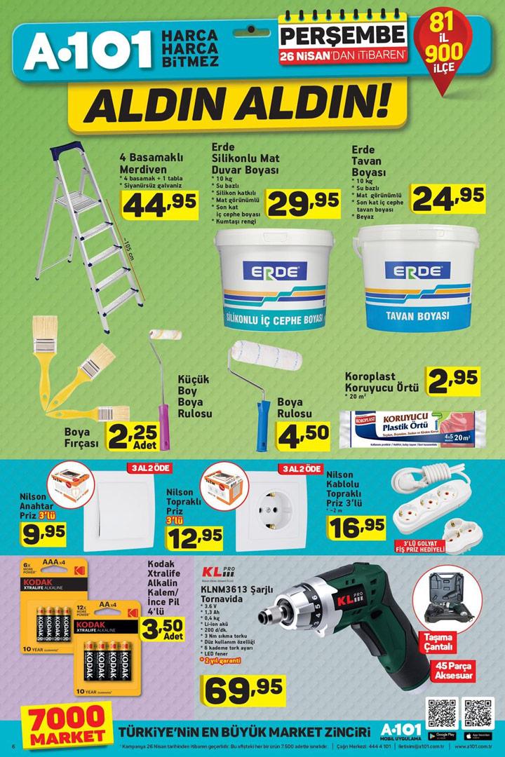 A101 26 Nisan Aldın Aldın Boya ve Tamirat Ürünleri