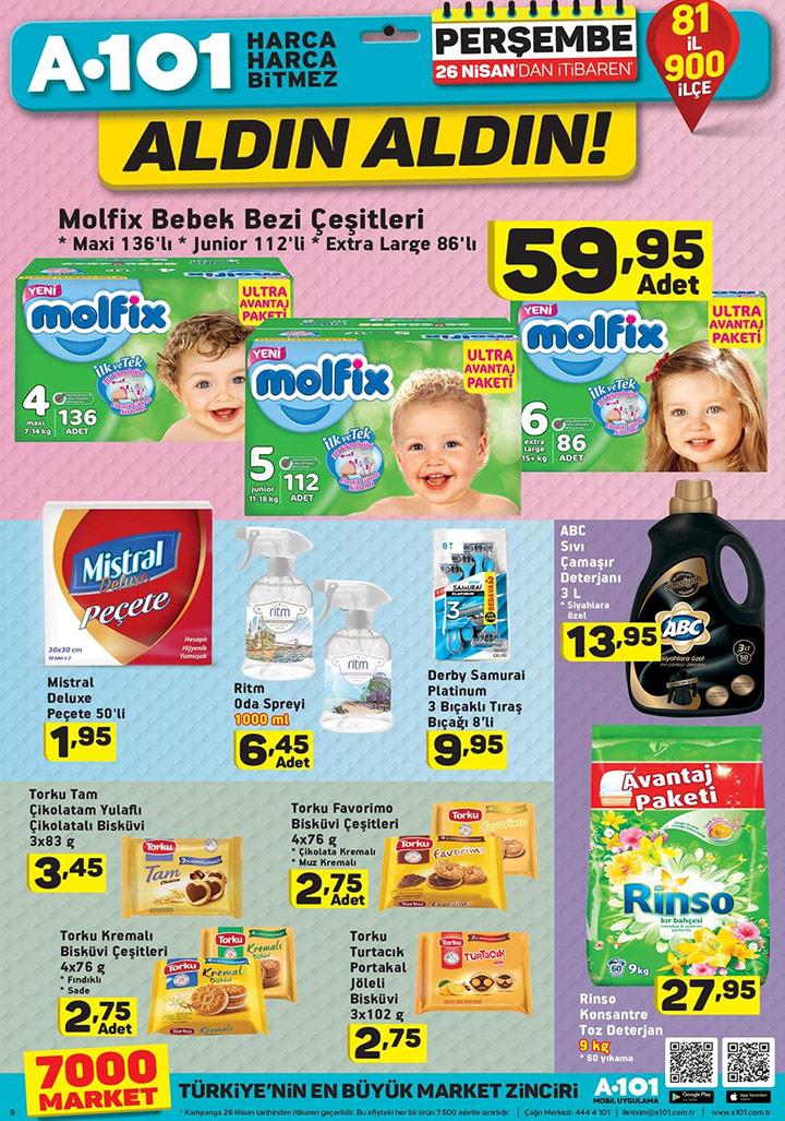 A101 26 Nisan Temizlik ve Bebek Bezi Aktüel Ürünleri