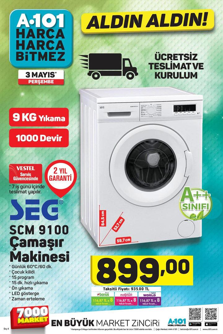A101 3 Mayıs Seg SCM 9100 Çamaşır Makinesi Kampanyası