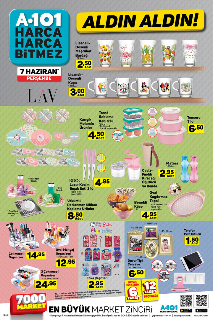 A101 7 Haziran 2018 Perşembe Mutfak Ürünü Sayfası