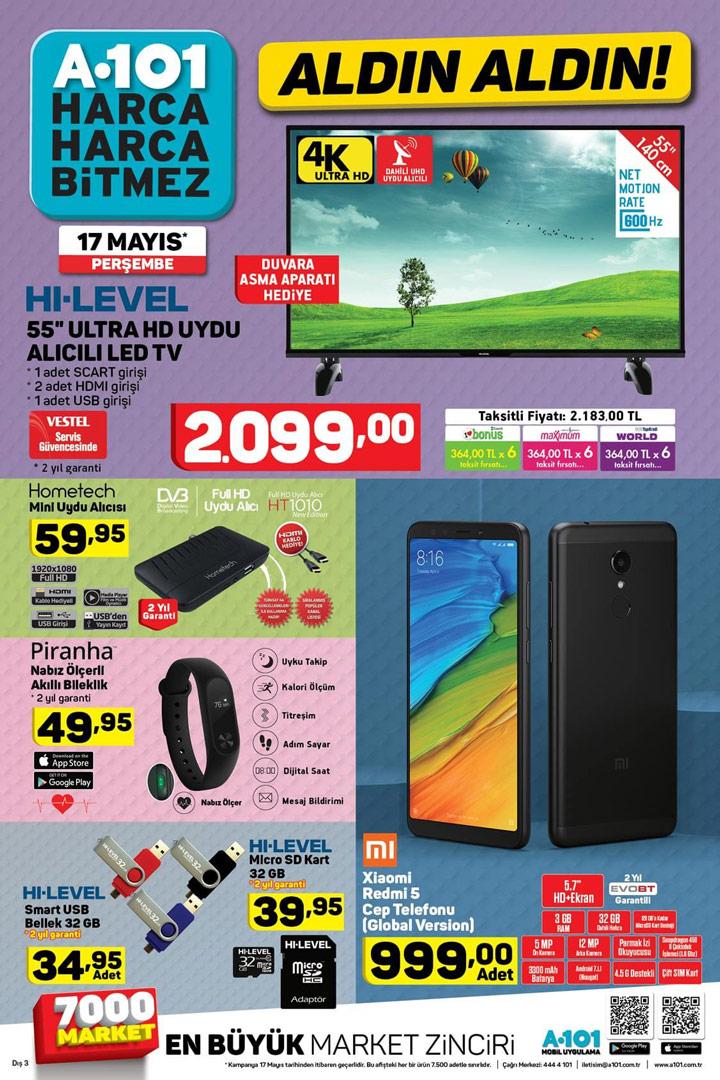 A101 Aktüel, 17 Mayıs 2018 Perşembe Elektronik Ürünleri