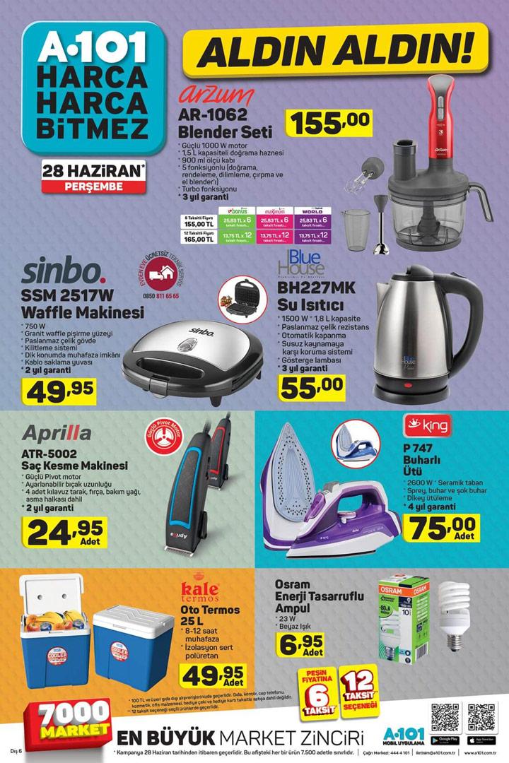 28 Haziran A101 Aktüel İndirimli Ürünler Listesi Perşembe Sayfası