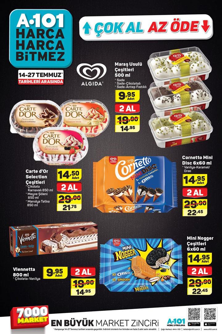 A101 14 Temmuz – 27 Temmuz Aktüel Dondurma Listesi