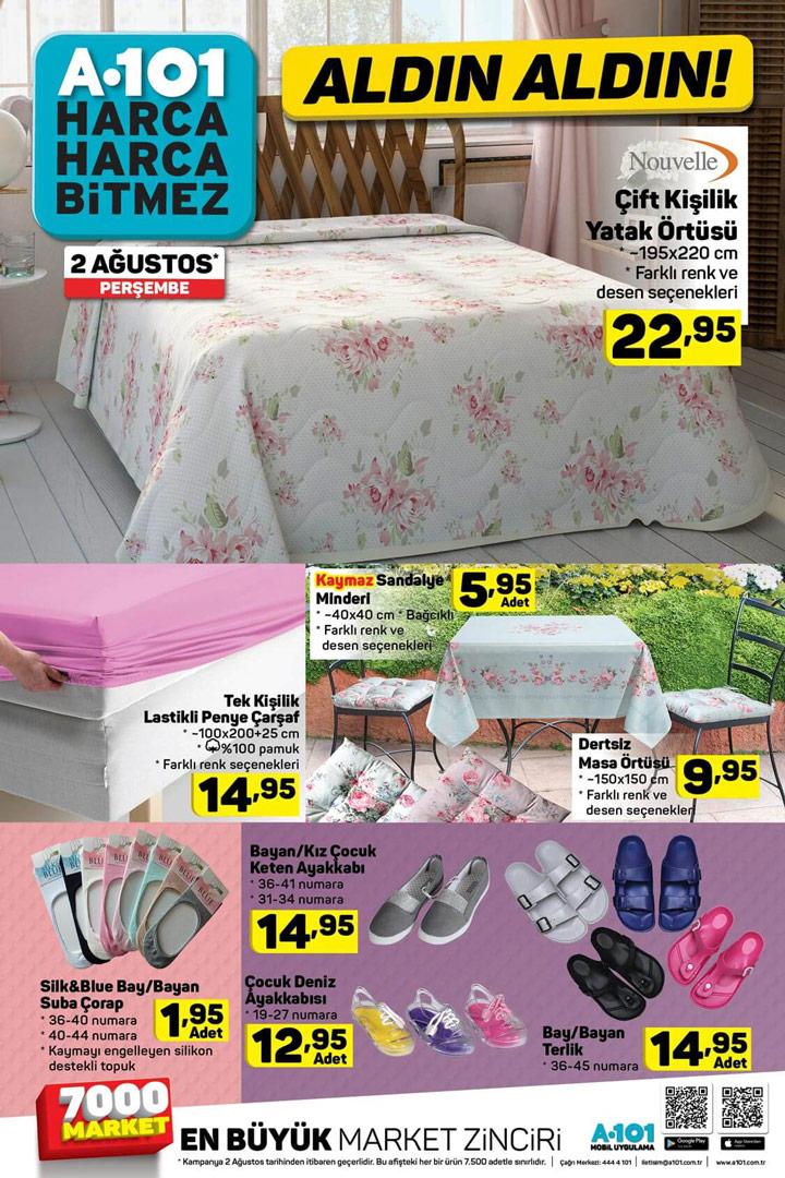 A101 2 Ağustos Perşembe Ev Tekstili Aktüel Ürünleri