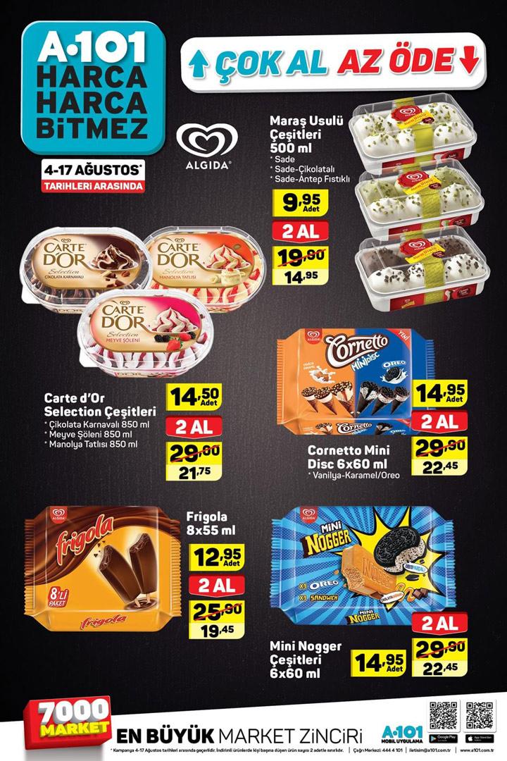 A101 4 Ağustos – 17 Ağustos Aktüel Dondurma Kampanyaları