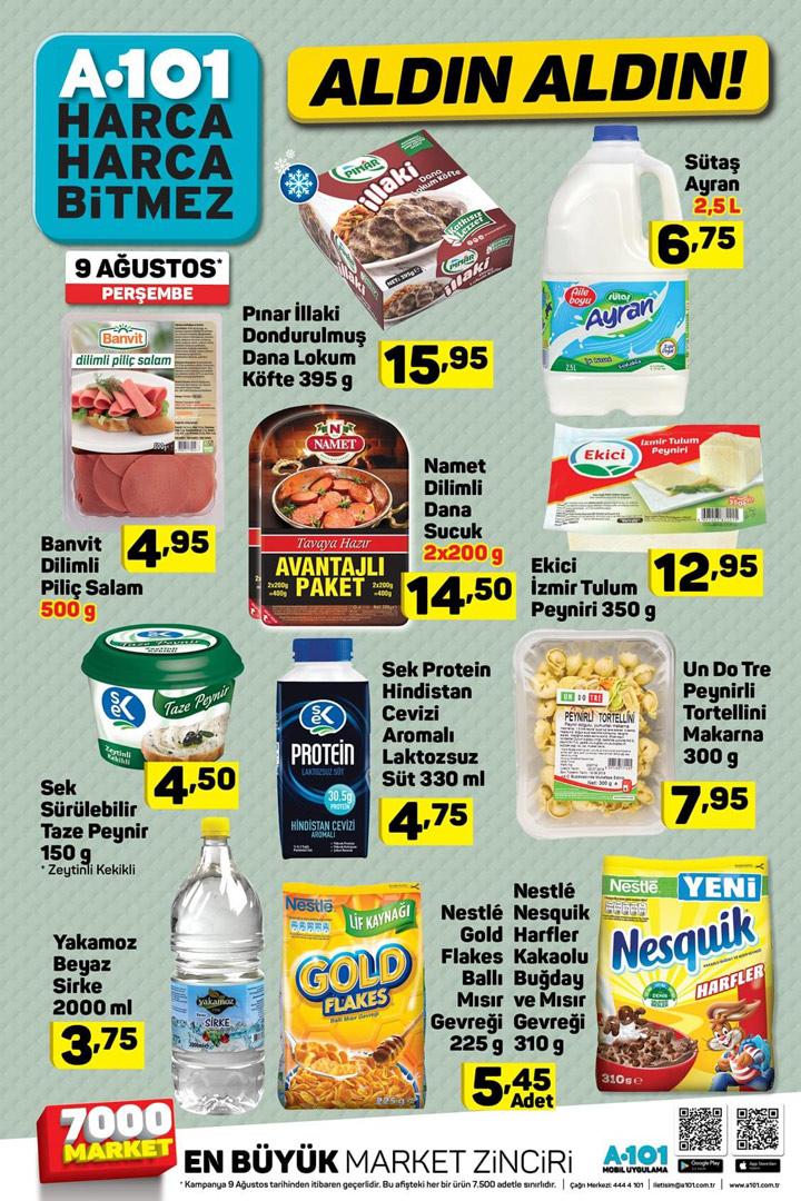 A101 9 Ağustos Gıda Ürünleri Spot Aktüel Fırsatları