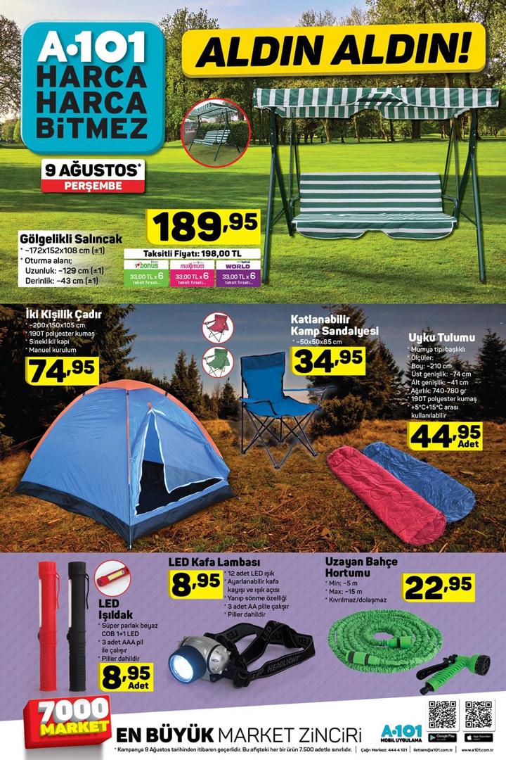 A101 9 Ağustos Perşembe Kamp Ürünleri Aktüel Listesi