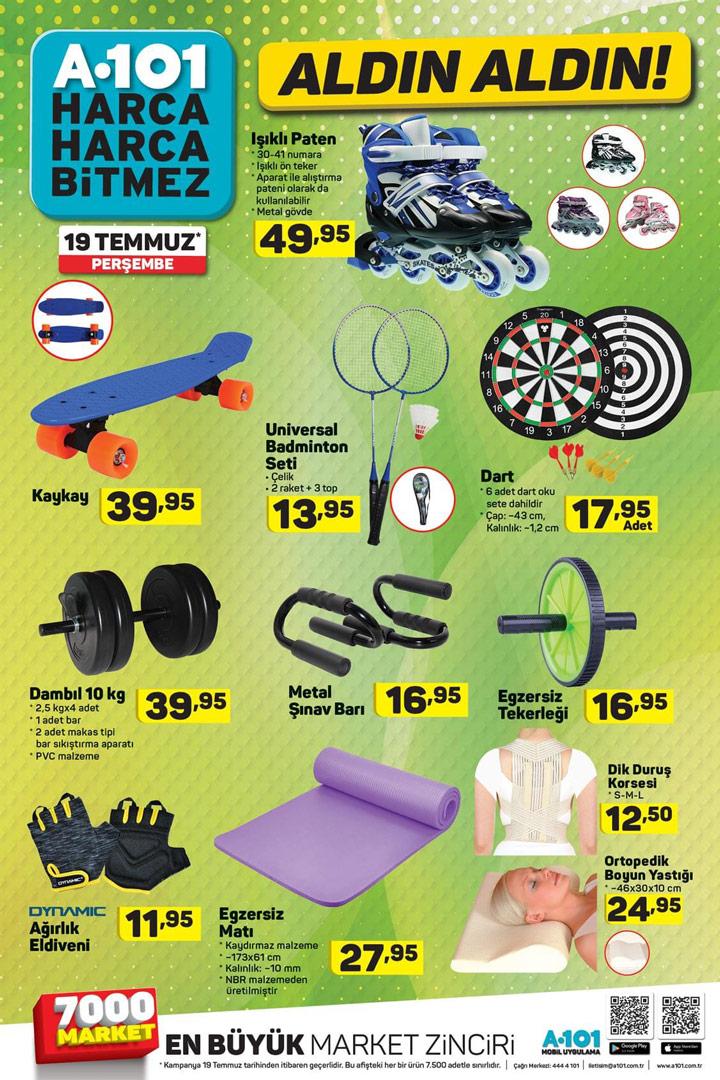 A101 AKTÜEL İndirim Listesinde Bu hafta 19 Temmuz Spor Ürünleri İncelemesi