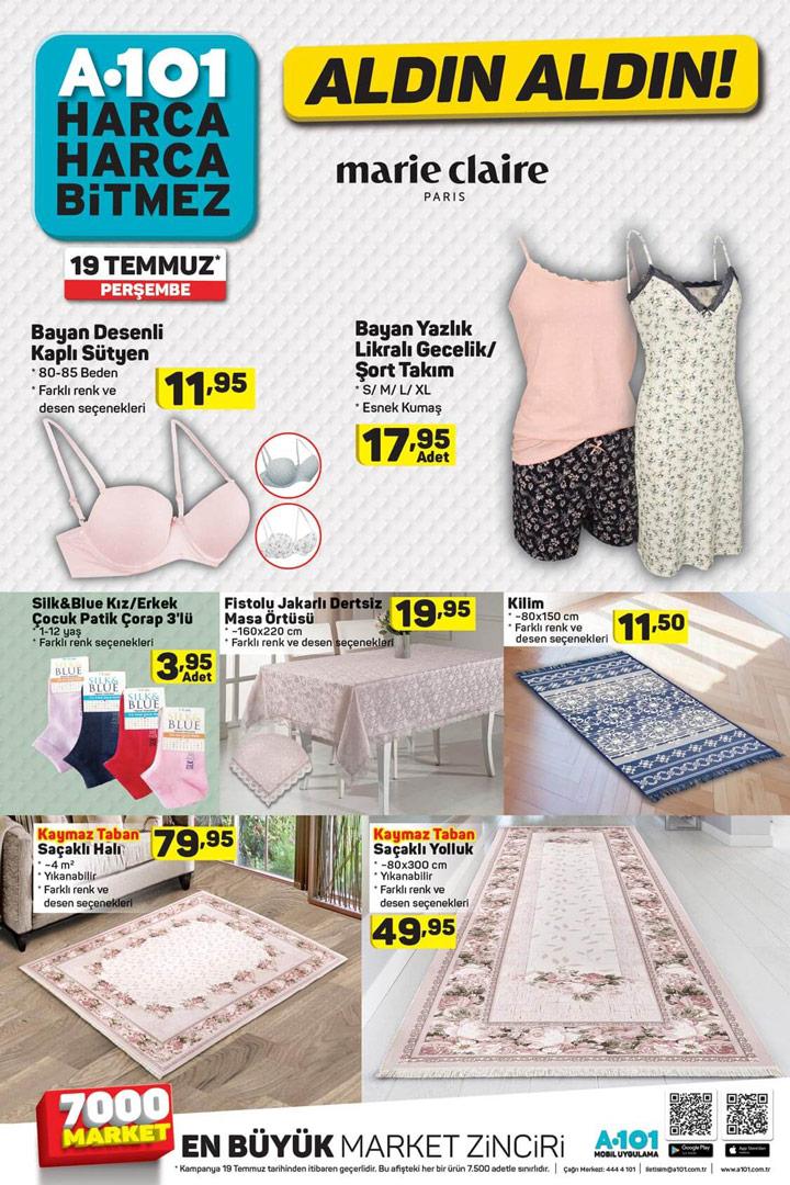 A101 Aktüel Perşembe 19 Temmuz Ürünlerinde Ev Tekstili Fırsatları