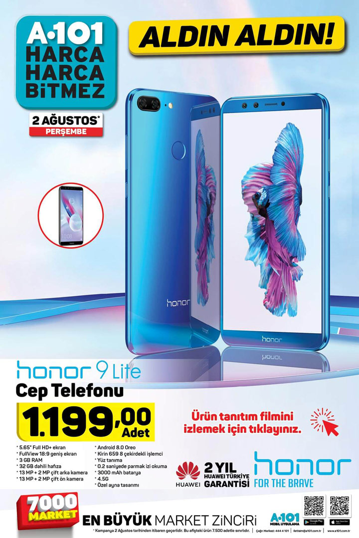 A101 Huawei Honor 9 Lite Akıllı Telefon – 2 Ağustos Perşembe