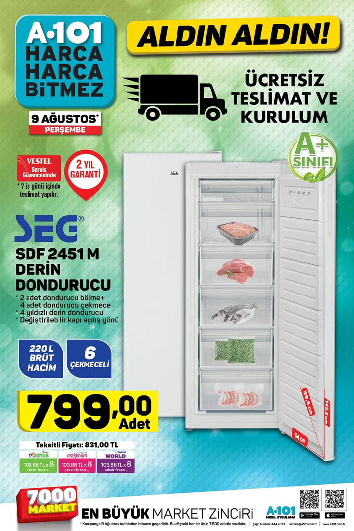 A101 SEG SDF 2451M Derin Dondurucu & 9 Ağustos 2018