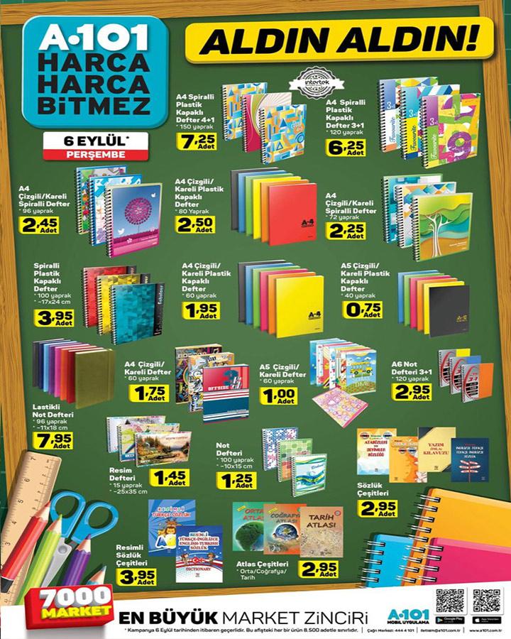 A101 6 Eylül Aktüel Kırtasiye Malzemeleri Katalog Sayfası